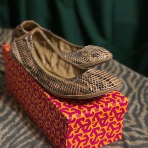 Authentic Tory Burch Eddie Watersnake Flats